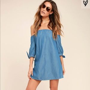 Be Home Soon Blue Chambray Off-the-Shoulder Dress